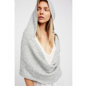 Free People Grey Hooded Wrap Knit Scarf